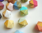 Hexagon Beads 12mm, Hand painted Wood  Beads, Geometric Natural Wood Beads, Choose your color, Do it Yourself Geometric necklace