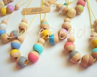 Wholesale Necklaces, 25 Handmade Neon Geometric Wood Necklaces,  Geometric Jewelry