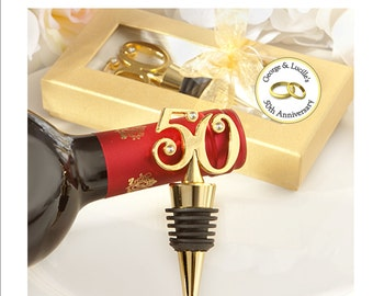 50th Anniversary Golden Wine Stopper Favors - Personalized - set of 12 complete favors with personalized favor tag