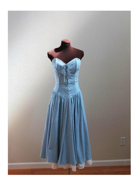 Vintage Blue Denim Bustier Corset Dress Size Xs S