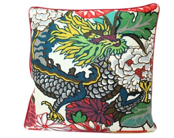 Schumacher Chiang Mai Dragon Alabaster Pillow Cover with Red Piping
