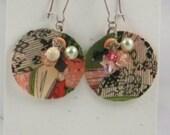 Black, Green, Peach, Ivory Cool Print Fabric Earrings