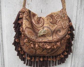 Brown paisley velvet bag purse, gypsy boho bag, bohemian crossbody purse, fringe bag, handmade fabric purse