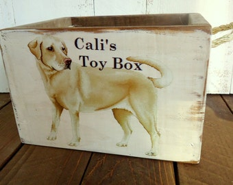 """Country rustic"""" Personalized"""" Dog Toy Box Crate"""