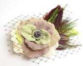 Taupe Ivory Chartreuse Bridal Hair Clip Accessory Romantic Rose Fascinator Feathers Antique Button original unique hair clip