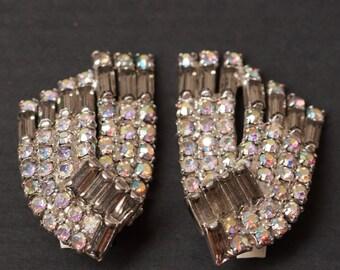 Vintage Formal Rhinestone Clip Earrings