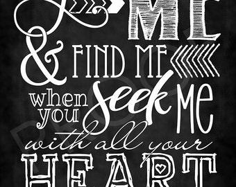 Scripture Art - Jeremiah 29:13 Chalkboard Style