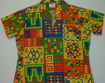 1960s Shirt / M - L / Psychedelic / Egyptian / Mod / Surfer Shirt / Hawaiian Shirt / 1960s Psychedelic Shirt / 1960s Hawaiian Shirt / Hippie