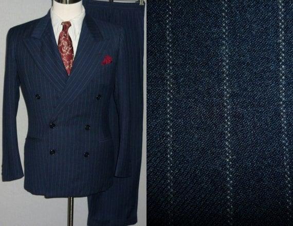 Vintage 1940s Mens Suit / 35 36 / Pinstripe by RealGoneVintage