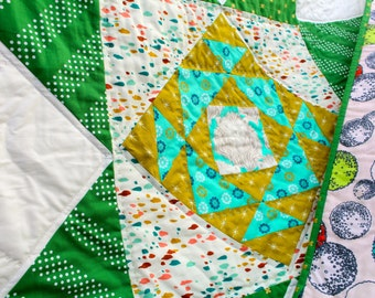 Patchwork Star Quilt with Hand quilting details in White, Kelly Green and Mustard