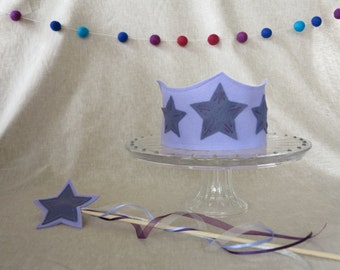 You Are A Star Birthday Crown and Wand Set - Purple
