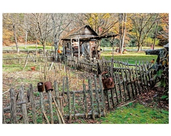 Autumn Old Farmstead Scarecrow Smokehouse Fence Fall Colors 9x12, 12x16 and 18x24 Glicee Print - That Way to the Smokehouse - Korpita ebsq