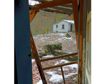 Abandoned Elkmont Cabin Screened Door 9x12, 12x16 and 18x24 - Dont Slam the Door When you Leave - Korpita ebsq