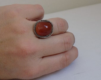Old Vintage Carnelian Gemstone Sterling Silver Ring - Size 4 - Statement Piece Jewelry Accessory Art Deco - Orange Red Stone - Boho Retro