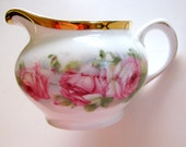 Z.S. Bavaria Creamer Antique Empire Hand Painted Pink Rose Mignon Pattern