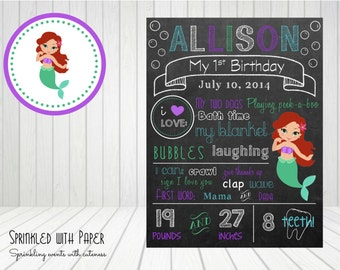 SALE- - -CUSTOM- Printable- Mermaid- First Birthday Chalkboard Sign