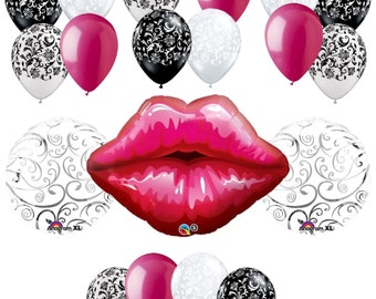 19 pc Big Kiss Lips Balloon Bouquet Decor Wedding Bridal Shower Party Love You