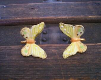 large ceramic butterfly screwback earrings