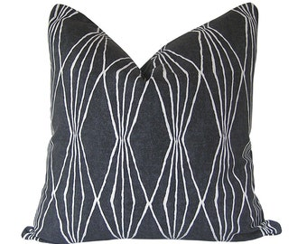Custom Pillow Cover / Handcut Shapes by Robert Allen at Home in Charcoal / Grey Gray / Both Sides / Made to Order