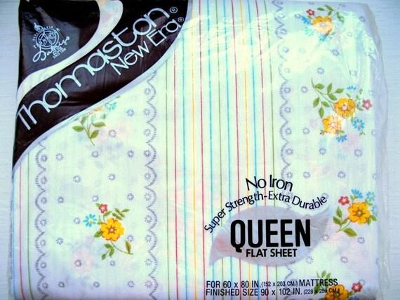 vintage sheets queen flat sheet farmhouse decor by. Black Bedroom Furniture Sets. Home Design Ideas