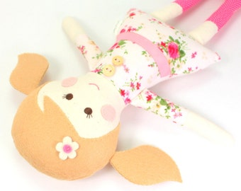 Eco-Friendly Soft Fabric Cloth Doll for Girl --  Camille Doll with Caramel Felt Hair & Pink Green and White Floral Dress with Wooden Buttons