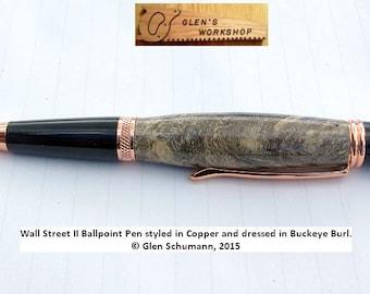Ballpoint Pen Handmade Bright Copper Buckeye Burl