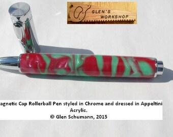 Rollerball Magnetic Pen Handmade Chrome Appeltini Acrylic