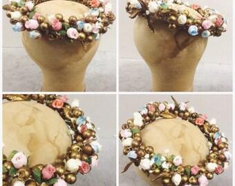 Vintage gilt gold floral nymph spring wedding crown wreath head piece