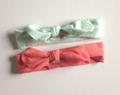 Baby/Child Girl's Mint and Coral Top Knot Tie Knit Headband/ Turban Head Wrap