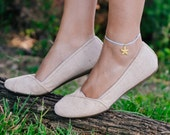 Starfish anklet, ankle bracelet with a gold plated sea star charm, blue string, seastar, nautical jewelry, sea, summer, beach