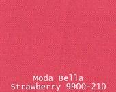 Moda Bella Solids Pink Strawberry 9900 210 fuchsia - Half Yard - Modern Quilting Sewing Craft Cotton Fabric