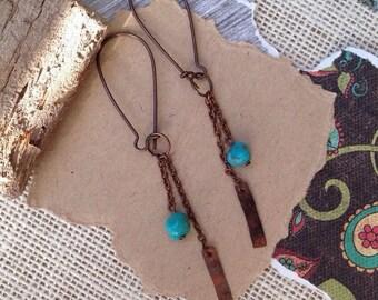 turquoise copper earrings, rustic copper, geometric charm, boho, dangle earrings, long earrings, genuine turquoise