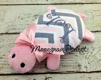 Personalized Light Pink & Gray Chevron Turtle Stuffed Animal