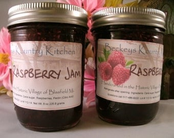 Two jars of Raspberry Jam Homemade by Beckeys Kountry Kitchen jelly fruit spreads preserves