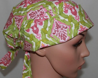 Magic Garden, Women's  Surgical Scrub Hat, Chemo Hat, Vet, Vet Tech, Tie back Scrub Cap Pleated with band
