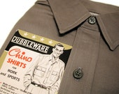 Deadstock 1940s Shirt, Men's Work Shirt, Dubbleware Chino Workwear with Tags