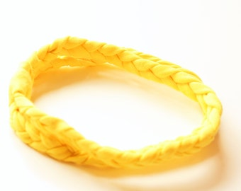 Double Braided Jersey Headband - Boho Headband - Citrus Yellow or Customize Your Colors