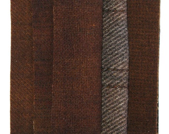 "Hand Dyed Wool Fabric in Chocolate, Brown, Cocoa, and Espresso  5"" x 5""  Wool Charm Pack of 10"