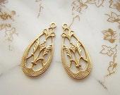 Ornate Art Deco Raw Brass Teardrop Earring Dangle Drops Charms - 4