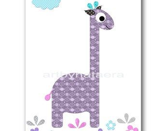 Kids Art Kids Wall Art Baby Girl Nursery art Print Nursery Print Kids Rooom Decor Children Art Giraffe Nursery rose lavender Nursery