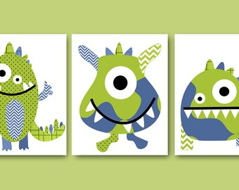 Baby Nursery Decor Baby Boy Nursery Decor Monster Nursery Kids Art Kids Wall Art Nursery Art Print Nursery Wall art Boy Print set of 3