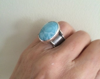 Larimar in Sterling Queen's Ring Style Mount