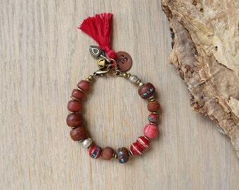 Sale / bohemian bracelet, Om yoga bracelet, boho jewelry, ethnic tribal jewelry, tassel jewelry, Christmas gift, gift for her