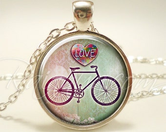 Bicycle Love Necklace, Gifts For Bike Lovers, Fun Cyclist Jewelry (1910S1IN)