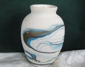 Nemadji Pottery Blue Brown Swirled Vase Gorgeous Very good