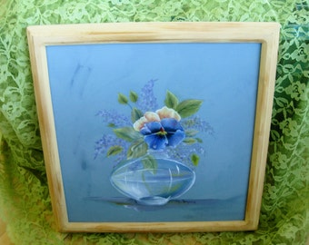 Flower Painting in Vase Signed Original Oil on Canvas Very good simple frame