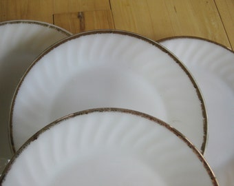 Fire King Gold Anniversary Swirl Dinner Plates  Very good Set of 4.  TWO sets available