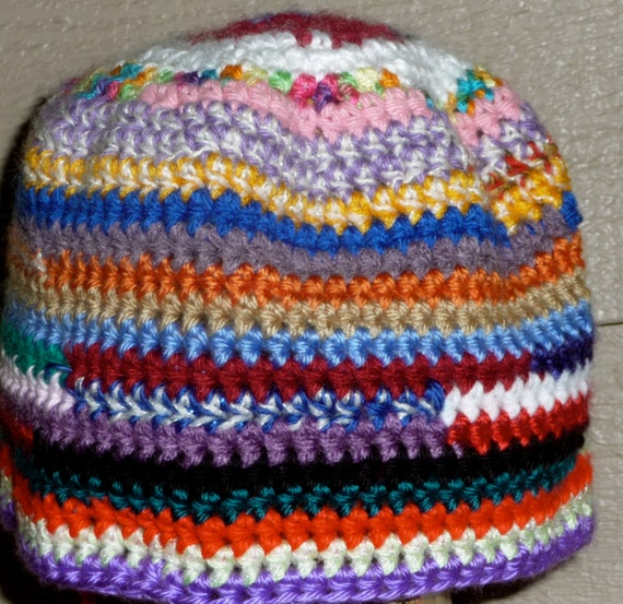 Free Crochet Pattern Multi Colored Hat : Multi colored multi SCRAP hand crochet beanie hat One of a