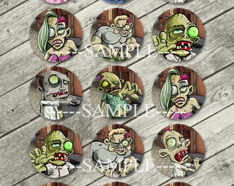Zombies Bottle Cap Images 4x6 1 Inch Circles DIY Printable Collage Sheet