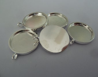 10 x 20mm Silver plated ROUND pendant trays